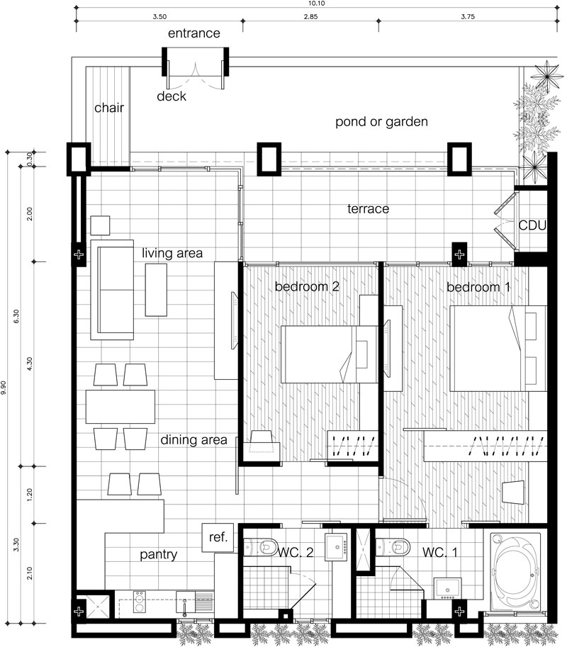 Floor plans two bedroom unit the lai thai for Floor plans for units